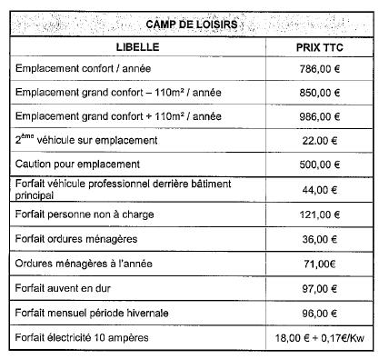 Tarifs Camp Loisirs